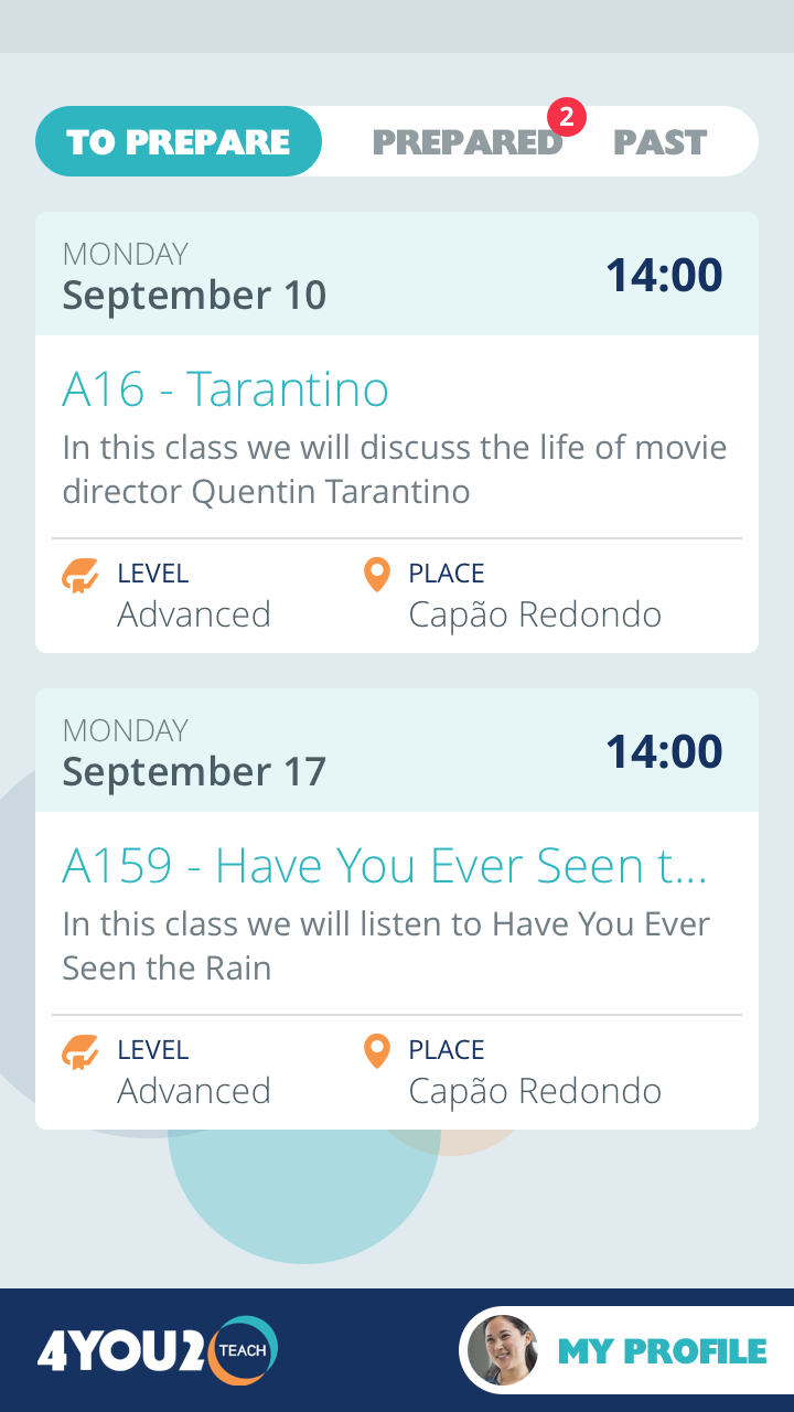 screenshot of the teachers app